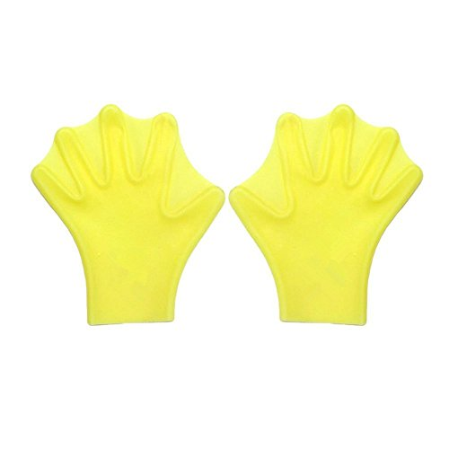 Swimming Hand Paddles Webbed Gloves for Swim Training S Yellow - 1