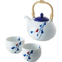 【まとめ 4セット】 miyama. fucube 茶器セット(染付六ツ瓢) B3020017 C9014537 B07KNS5MRM