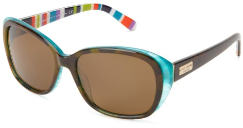 Kate Spade Hilde/P/S Hilde/P/S Polarized Cat Eye Sunglasses,Olive/Tortoise/Turquoise,54 - Sunglasses Kate