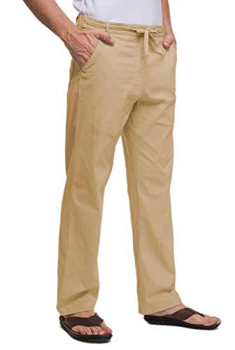 Janmid Men Casual Beach Trousers Linen Summer Pants (Dark Khaki, XL) - Mens Pants Trousers