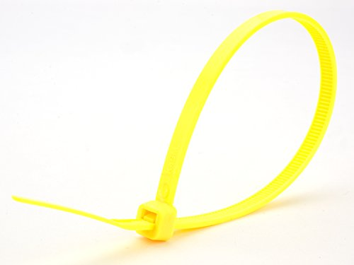 8 Inch Fluorescent Yellow Standard Nylon Cable Tie - 100 Pac