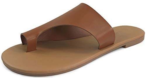 Harper Shoes Women's Toe Ring Slip-On Flat Slide Sandal, Tan, 9