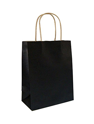 Halulu 100pcs 8'x4.75'x10.5' Black Kraft Paper Retail Shopping Bags with Rope Handles