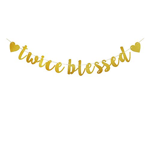 Twice Blessed Banner, Funny Sign for Twins Baby Shower, Gold Glitter Letters Bunting