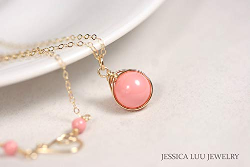 (Gold Pink Coral Necklace Pink Coral Swarovski Pearl Pendant Wire Wrapped Yellow or Rose Gold Filled)