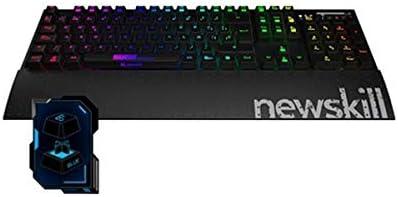 Newskill Hanshi Spectrum - Teclado mecánico gaming RGB, (Estructura metalica, reposamuñecas removible, efectos RGB, Switch BLUE), negro