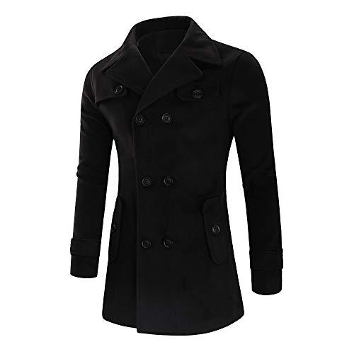 iHPH7 Men's Jacket Warm Winter Trench Long Outwear Button Smart Overcoat Coats -