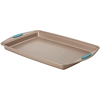 "Rachael Ray 46683 11"" x 17"" Agave Blue Handle Grips Cucina Nonstick Bakeware Baking Pan Cookie Sheet, Medium, Latte Brown"