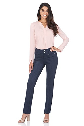 Rekucci Women's Secret Figure Pull-On Knit Straight Pant w/Tummy Control (10SHORT,Indigo)