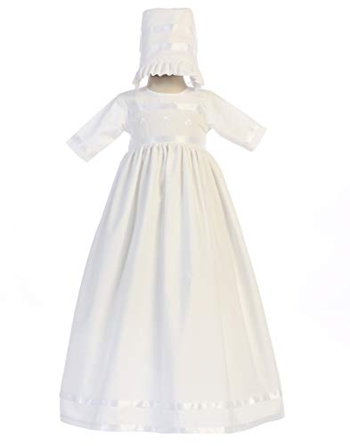 Lito Childrens Wear SWEA Pea & Lilli Bridget Cotton Long Gown w/Embroidered Shamrocks (White, 3-6 Months)