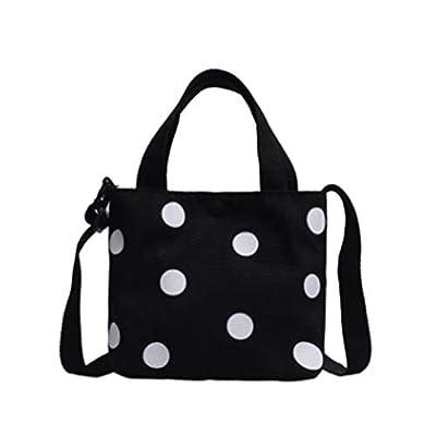SEVENHOPE Fashion Retro Women'S Canvas Handbag New Women'S Casual Polka Dot Zipper Simple Shoulder Bag: Clothing