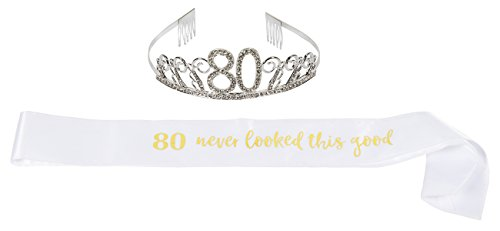 Happy Birthday Tiara and Sash Set - Rhinestone Queen Tiara with 80 Never Looked This Good Satin Sash Decoration for 80th Birthday]()