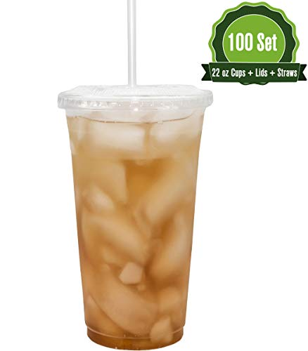 22oz Clear Plastic Cups with Flat Lids and Straws (100 Set)