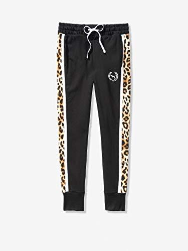Victoria Secret Pink Apparel Skinny Jogger Black with Leopard (Large)