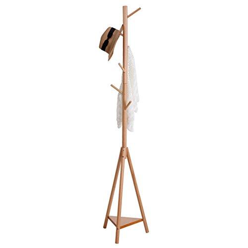 Coat Rack Clothes Hat Tree Solid Wood Coat Rack Multifunction Hanger Hat Rack Tree Floor Hanger (Wood/Walnut/Redwood/White, 37cm 176cm / 40cm 175cm) CONGMING (Color : Natural Wood - Tripod)