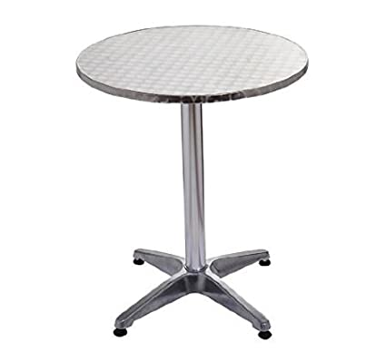HOMCOM 24u201d Round Adjustable Stainless Steel Top Aluminum Standing Bistro  Bar Table