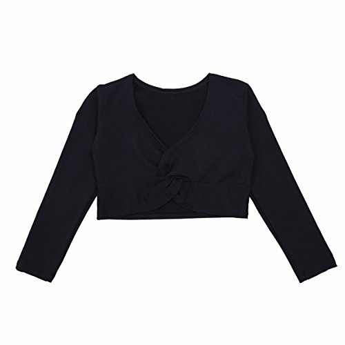 ong Sleeve Cotton Wrap Sweater for Ballet Dance Twist Knot Front Black 7-8 (Ballet Long Sleeve Sweater)