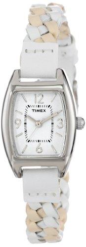 (Timex Women's T2N7649J Weekender Shaped Case White & Tan Woven Leather Strap Watch)