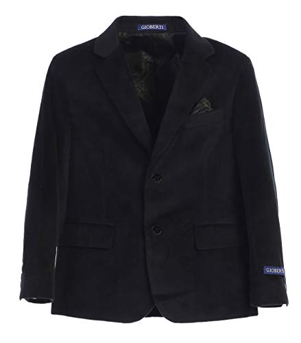 Gioberti Big Boys Formal Velvet Blazer with Solid Buttons, Black B, Size 10 -