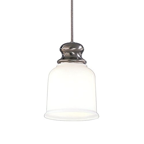 - Riverton 1-Light Pendant - Antique Nickel Finish with Opal Glossy Glass Shade