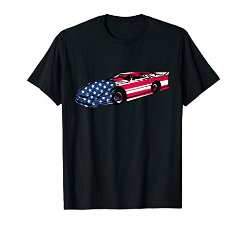 Dirt Track Late Model Racing USA American Flag Bright Gift T-Shirt (Dirt Track Late Model)