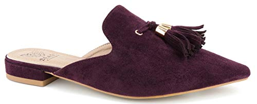 (Beast Fashion Gem-01 Suede Pointed Toe Slip On Tassels Flat Loafer Mules (9, Burgundy) )