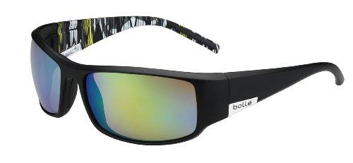 Bolle King Sunglasses, Matte Black/Lime Zebra Frame, Green Emerald - Sunglasses Photochromic Bolle