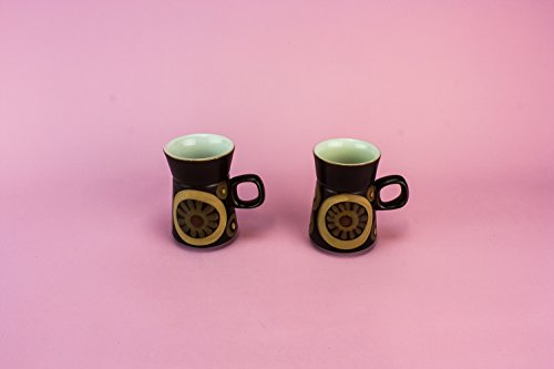 2 Persons Vintage Charming Arabesque COFFEE SET Cup Denby Gift Brown Pottery Retro Small Party Table English 1970s LS