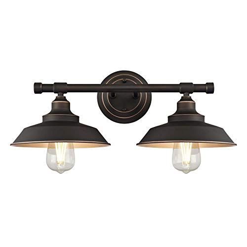 Two Fixture (Westinghouse  6354800 Iron Hill Two-Light Indoor Wall Fixture, Oil Rubbed Bronze Finish with Highlights and Metal Shades)