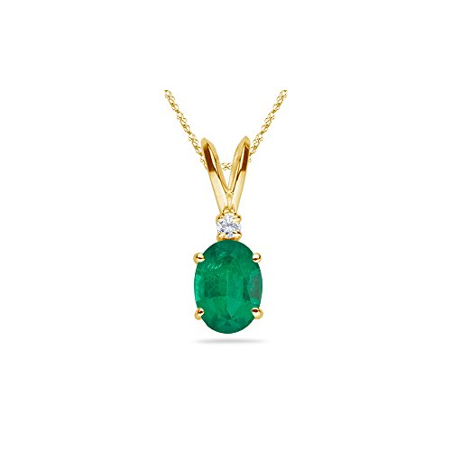 (0.02 Cts Diamond & 0.61-1.06 Cts of 7x5 mm AA Oval Natural Emerald Solitaire Pendant in 14K Yellow)