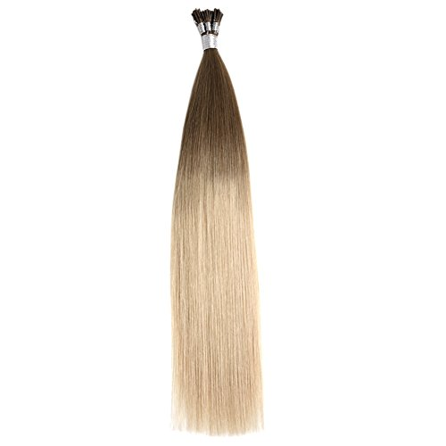 """Price comparison product image Ty.Hermenlisa 22"""" Silky Straight Micro Rings Hair Extensions 100% Real Virgin Remy Human Hair Fusion Stick I Tip Extensions, 50strands/Pack, 35g, Light Ash Blonde(#T18.22)"""