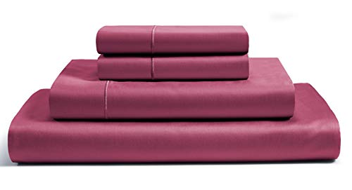 800-Thread-Count Best 100% Egyptian Cotton Bed Sheet Set - Burgundy Long-staple Cotton King Sheet For Bed, Fits Mattress Upto 18'' Deep Pocket, Soft Sateen Weave 4-Piece Sheets & Pillowcase Set