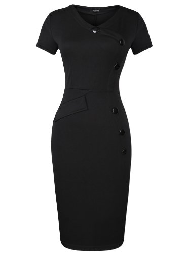 Mooncolour Vintage Bodycon Midi Dress with Decorative Buttons