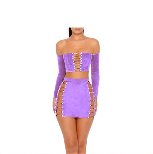 (MAGICMK Suede Mini Long Sleeve Off Shoulder Club Sexy Party Dress (Purple, s))