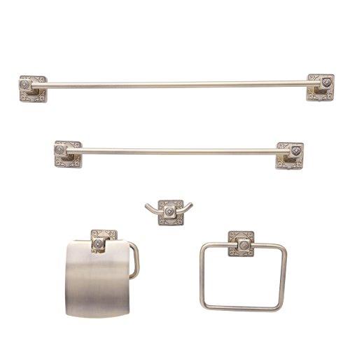 (Dyconn Faucet BRN5SET-AB Reno Series Euro Bathroom Set, Antique Brass, 5 Piece)