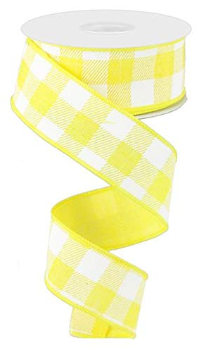 Plaid Check Wired Edge Ribbon - 10 Yards (Yellow, White, - Ribbon And White Yellow