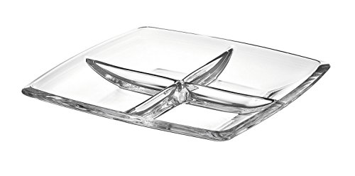 Barski - European Quality - Glass - 4 Sectional - Square - Relish Dish - 11