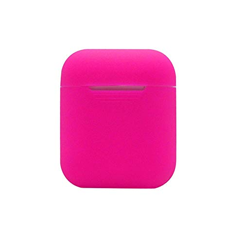 Price comparison product image Sonmer Cute Soft Silicone Shock Proof Solid Color Protective Case For Airpods Earphones (Hot Pink)