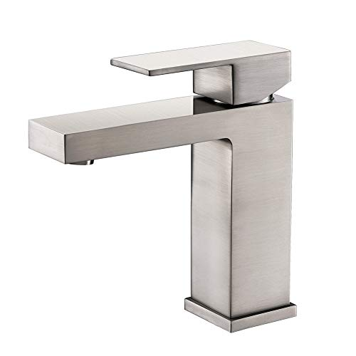 Faucet Mixer Lavatory (APPASO B102-BN Bathroom Sink Faucet, Solid Brass Single Handle 1-Hole Brushed Nickel Lavatory Vanity Basin Vessel Sink Mixer Faucet with Pop Up Drain Assembly and cUPC Supply Hose Deck Mounted)