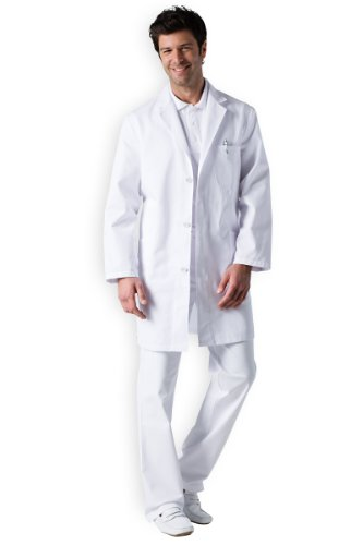 CLINIC DRESS Herren-Mantel Weiß 100% Baumwolle weiß