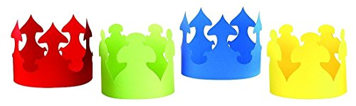(Hygloss Products Bright Colored Paper Crowns- Red, Yellow, Blue, Green Assortment, 24)