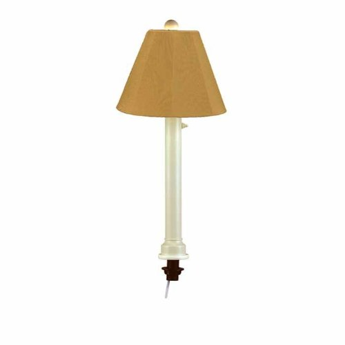 Patio Living Concepts Catalina 28 in. Bisque Umbrella Outdoor Table Lamp with Brass Shade (Lamp Bisque Outdoor Table)