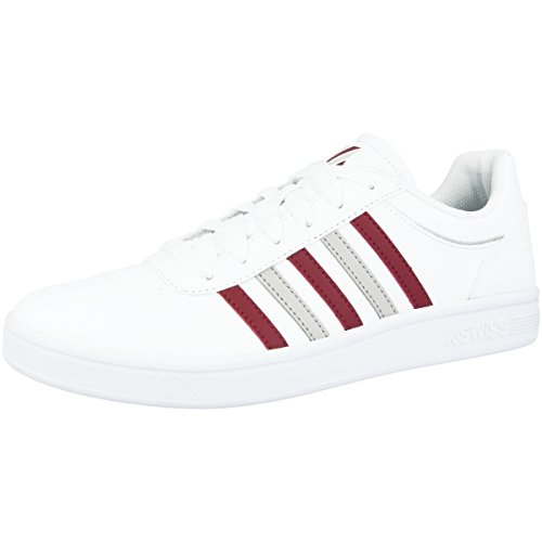 K-Swiss Men's Court Cheswick Low-Top Sneakers White-biking Red (05609-166) N9osyPXD