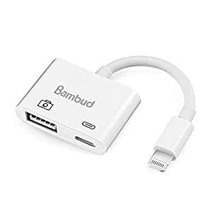 Bambud Compatible with iPhone iPad to USB Camera Adapter, USB 3.0 Female OTG Adapter Cable with Charging Interface Compatible with iPhone Xs Max XR X 8 7 6 Plus 5c 5s iPad Mini Air Pro