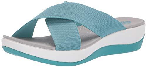 CLARKS Women's Arla Elin Slide Sandal, Aqua Elastic Fabric, 110 M US