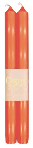 Taper Candles Orange (Entertaining with Caspari 10-Inch Taper Dripless, Smokeless, Unscented Candles, Orange, Set of 2)