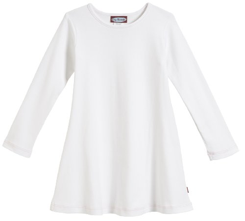 City Threads Big Girls' Cotton Long Sleeve Dress for School or Play for Sensitive Skin SPD Sensory Friendly, White, (Kids White Dress)