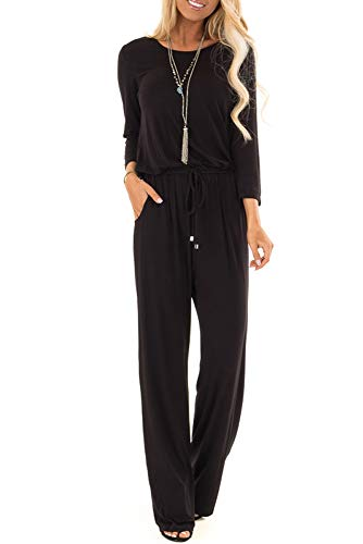 sullcom Women Summer Solid 3/4 Sleeve Wide Leg Jumpsuit Casual Loose Stretchy Long Pant Rompers (X-Large, D-Black)