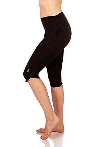 Mika Yoga Wear Audrey Capri ~ 4 Way Stretch ~ 3 Way Mid Rise ~ Made for Movement (Black, L/XL)