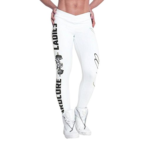 Price comparison product image Tootu Women Sports Gym Yoga Workout Mid Waist Running Pants Fitness Elastic Leggings (L, White)